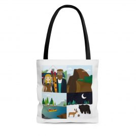 Tote bag with 4square scenes of Yosemite
