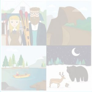 Cartoon background for website with images of yosemite