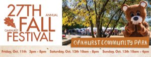 27th Annual Fall Festival logo with dates and times, photo of festival and bear character
