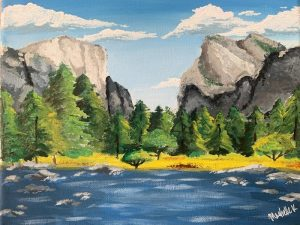 Painting of mountains, clouds, sky, trees and water in Yosemite