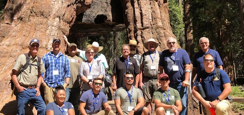 A group of military veterans participate in a leadership seminar in Yosemite National Park, 2019