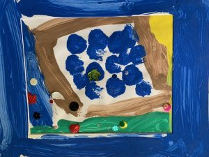 Child's simple colorful painting with circles and lines
