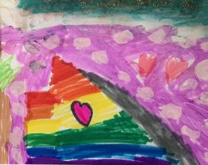 Colorful rainbow marker picture of Half Dome with rainbow and hearts