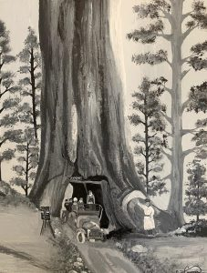 Black and white painting of giant sequoia in Mariposa Grove of Yosemite, ca. 1910