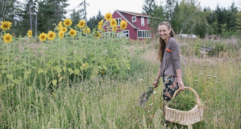 Young woman stands in a field of sunflowers holding a basket and a garden tool, farmhouse in the background