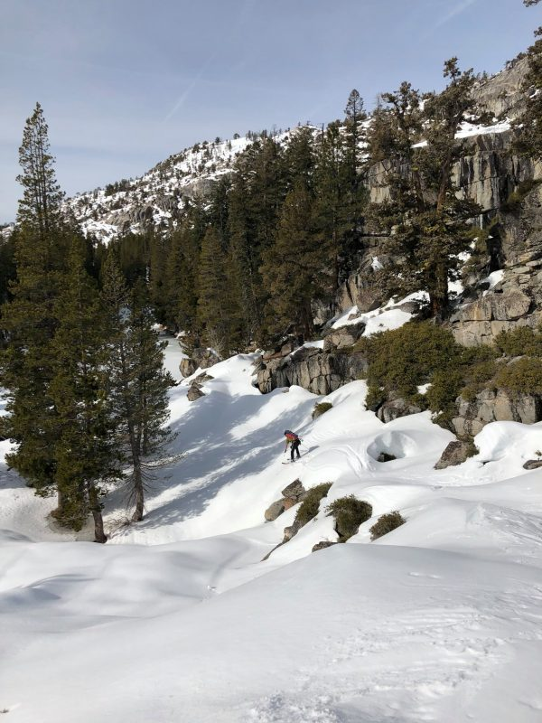 Ski-clad snow surveyors in Yosemite