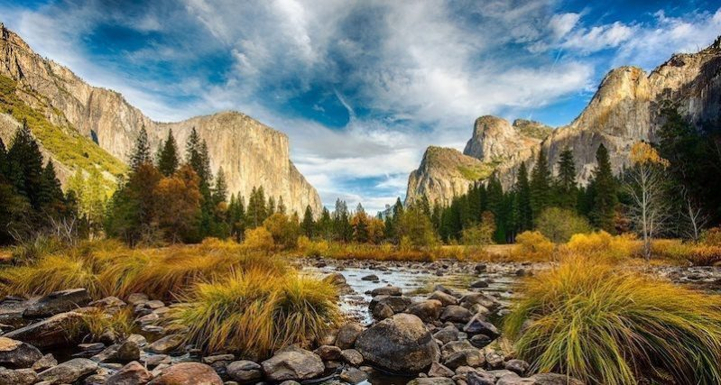 A view of Yosemite Valley from the Merced River by Jaganath Achari